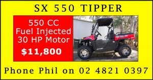SX 550 Tipper Facebook - Contact Phil on 02 4821 0397